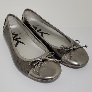 Anne Klein Sport Buttons pewter flats size 9.5